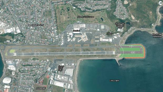 An aerial map of Wellington Airport showing where the proposed runway extension would be built to the south.