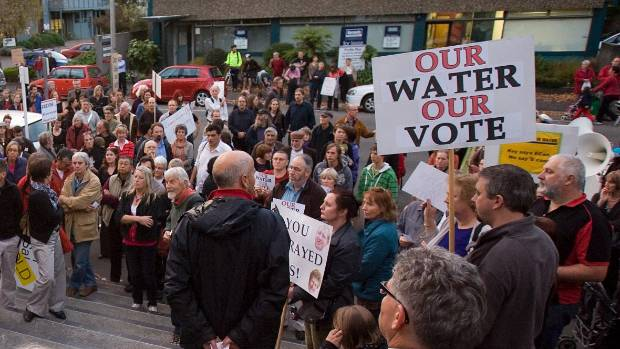 Water rights protest outside Environment Canterbury in 2010, after the Government sacked elected regional councillors ...