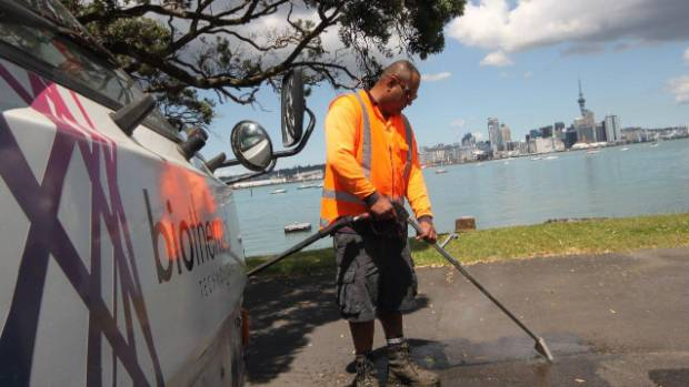 A worker sprays hot water to kill weeds in Devonport, where the local board has come up with $50,000 so it can remain a ...