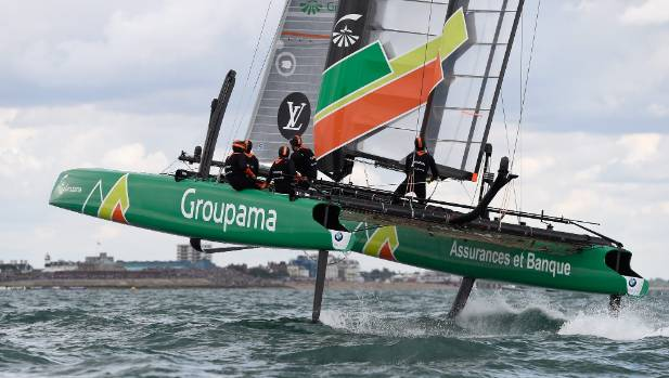 PORTSMOUTH, ENGLAND - JULY 25:  Groupama Team France in action during Day Three of the Louis Vuitton America's Cup World ...