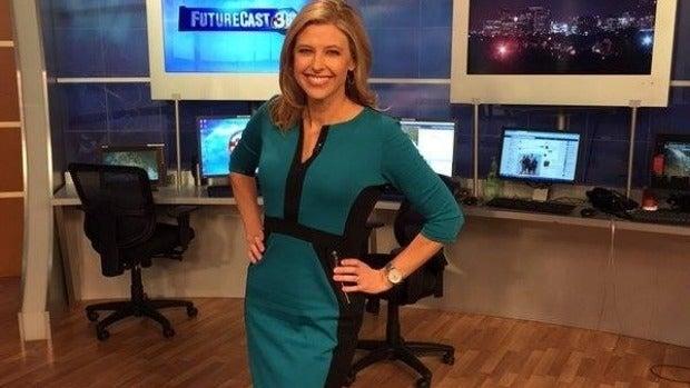 Meteorologist April Warnecke in 'the dress'.