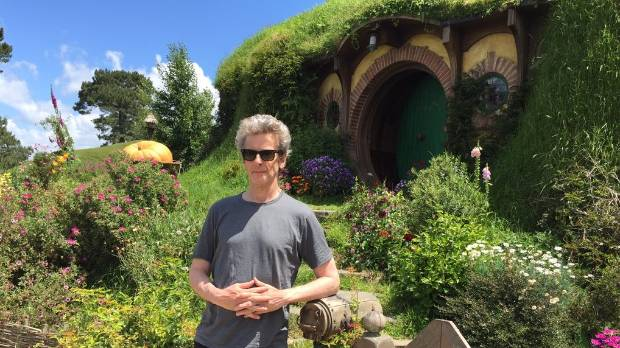 Peter Capaldi doesn't look out of place in front of Bag End at Hobbiton.