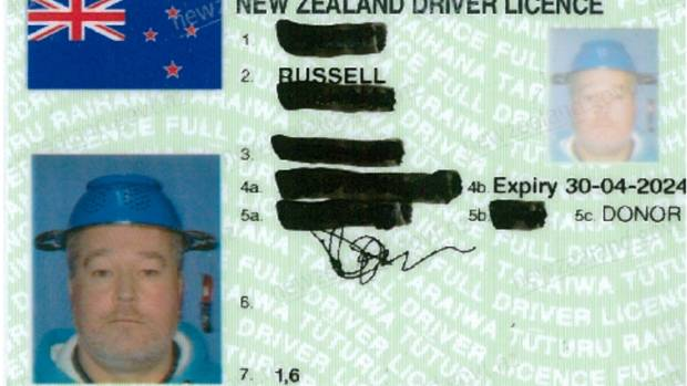 The driving licence of 'Russell', an ordained minister of the Church of the Flying Spaghetti Monster wearing his ...