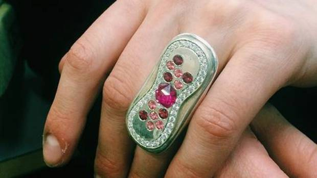 Murphy-Johnson designed this ring to look like a used sanitary pad.