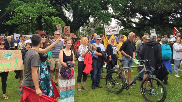 Aucklanders congregate in Albert Park ahead of the nationwide People's Climate Marches on Saturday morning.