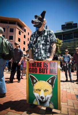 A protester in Civic Square.