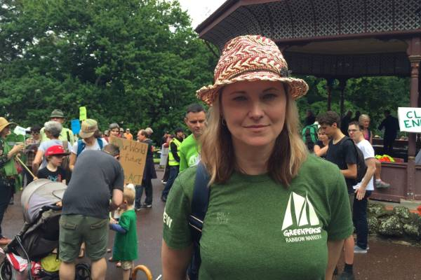 Actor Lucy Lawless attends the People's Climate March in Auckland.