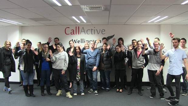 Workers at the opening of Callactive in Wellington three years ago.