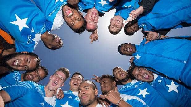 The Somali football team pump up the adrenalin before their game against Ireland at the NZ Communities Football Cup held ...
