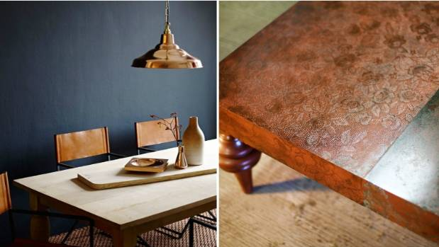 Copper and brass have been the key metallics for 2015, and inky blue is a favoured colour. The copper lace coffee table ...