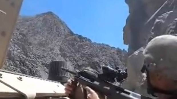 A still from a helmet camera video of the battle at Baghak, Afghanistan.