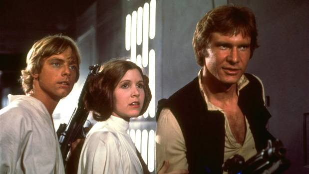 Harrison Ford , Carrie Fisher , Mark Hamill in Star Wars.