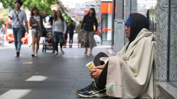 Begging is on the rise in Auckland's CBD.