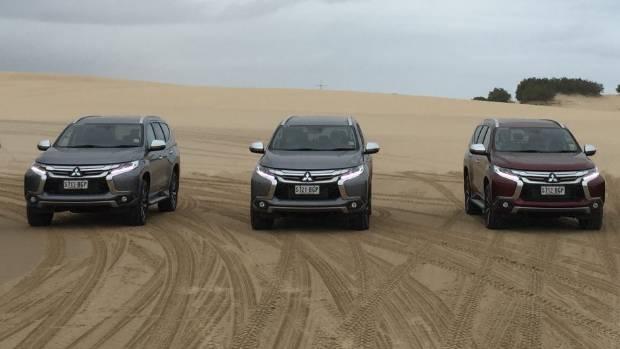 A line-up of new Mitsubishi Pajero Sports.