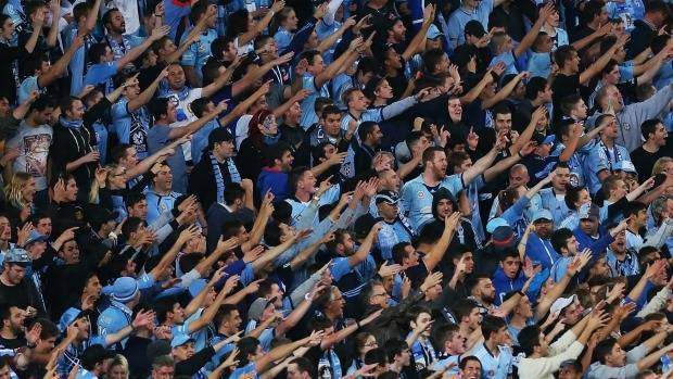 Sydney FC fans cheer during a match.
