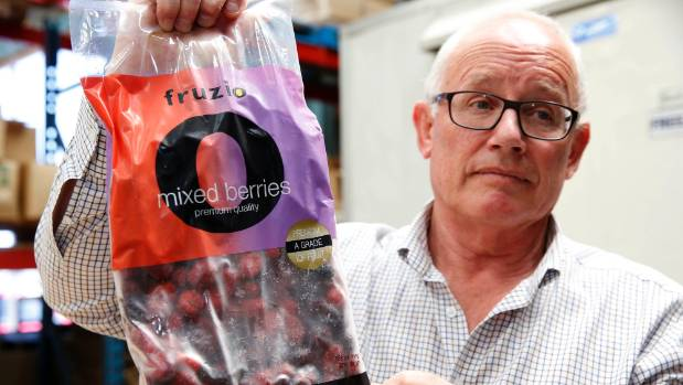 Mike Glover owner and director of FSL Foods with a bag of the fruzio mixed berries they have recalled.