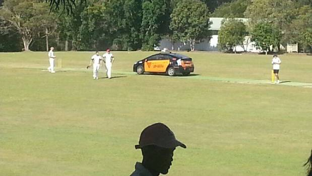 Time for a drinks break? The taxi, photographed from the cricket ground's clubrooms.