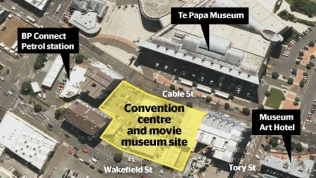 The new convention centre and movie museum will be built across the road from Te Papa.