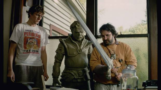 Sir Peter Jackson and Sir Richard Taylor with a creature and weapon from Heavenly Creatures movie that will be in the ...