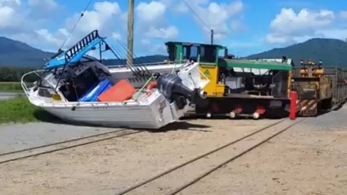Train in Australia derails after crashing into fishing boat | Stuff