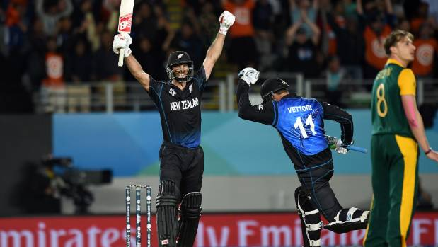Grant Elliott hits the winning runs during the World Cup semifinal match between New Zealand and South Africa at Eden ...