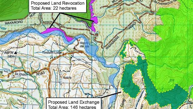 Department of Conservation map showing a land swap proposed by developers of the Ruataniwha dam.