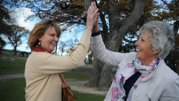 South Wairarapa mayor Adrienne Staples, left, and Masterton mayor Lyn Patterson celebrate last year, after it was ...