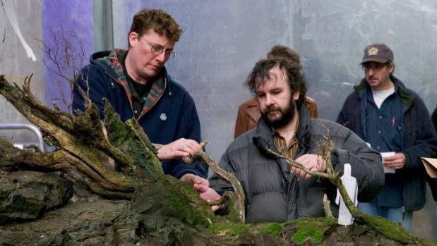 The Movie Museum founders Sir Peter Jackson and Sir Richard Taylor with miniatures being prepared for King Kong,  which ...