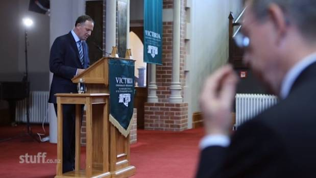 John Key announces plans for a referendum at Victoria University in March 2014.