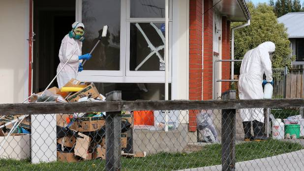 Which chemicals surround former residential methamphetamine