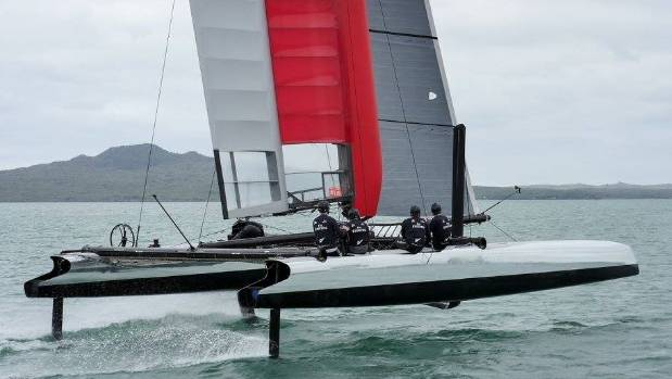 Team New Zealand get their latest test boat foiling on their first trial run in Auckland as the buildup to Bermuda 2017 ...