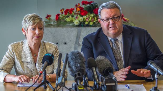 Christchurch Mayor Lianne Dalziel and Earthquake Recovery Minister Gerry Brownlee at a press conference about Regenerate ...