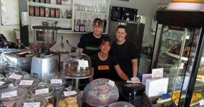 Lower Hutt's Sweet Vanilla Cafe owner/operator Cheryl McIvor, left, with team members Betty and Hanna.