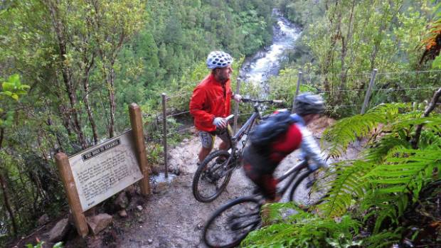 Part of the new Old Ghost Road cycleway which traverses the upper Buller Gorge.