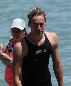 Thomas Heaton of Nelson finished first during Sunday's Opening Splash sea swim from Tahunanui Beach to the Nelson Yacht Club.