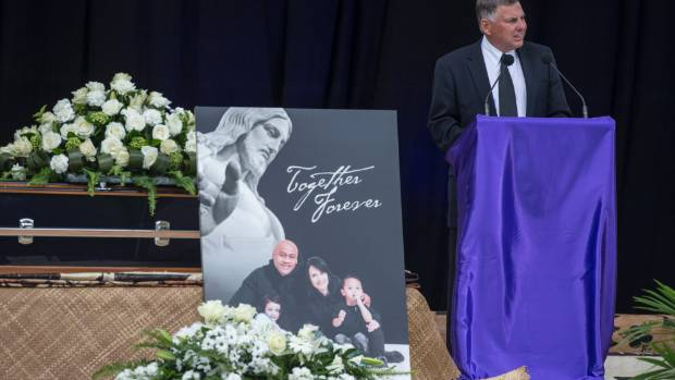 Former All Blacks coach John Hart speaks at the public service for Jonah Lomu.