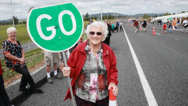 Joy Tucker, 90, at the December opening of the Cambridge section of the Waikato Expressway.