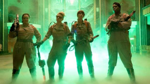 The four female Ghostbusters.