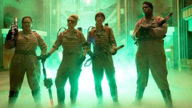 The first look at the four female Ghostbusters.
