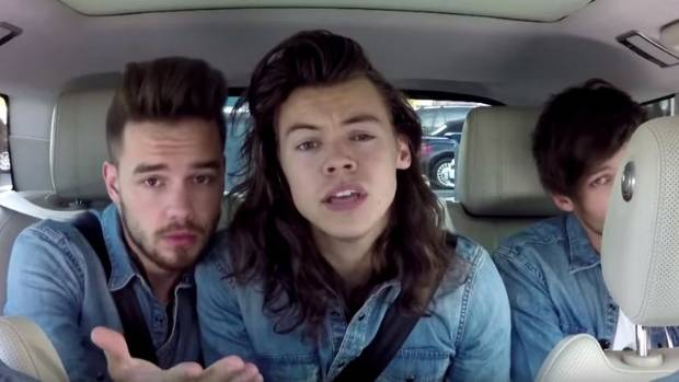 Liam Payne and Harry Styles of One Direction on Carpool Karaoke.