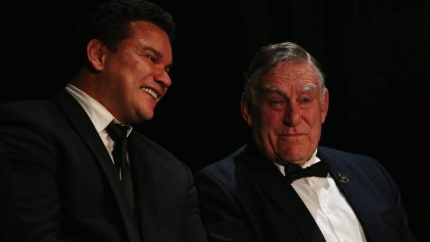 All Blacks legend Michael Jones, deep in discussion with another, Sir Colin Meads, is proud of his Polynesian heritage.