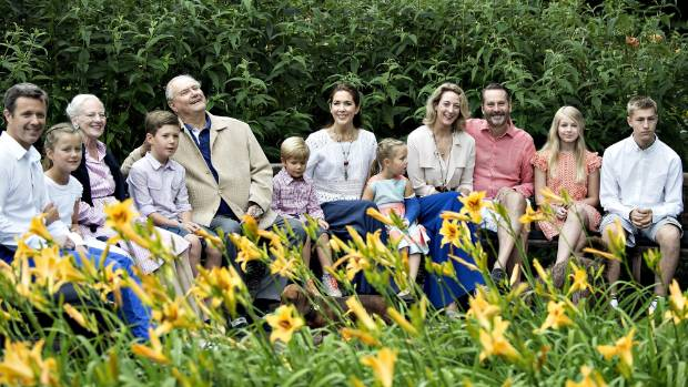 The Danish royal family are seen at a garden in Graasten Castle during their summer holidays.