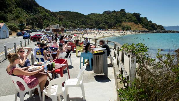 Crowds enjoying the hot weather at Scorching Bay in Wellington in February.