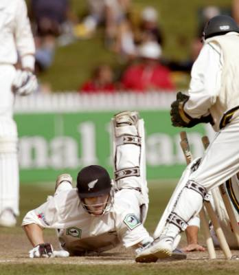 Brendon McCullum was lucky to survive this attempted stumping on his way to his first test 50, scored in his first test ...