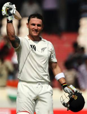 Brendon McCullum celebrates after scoring a double century against India on the final day of their second test cricket ...