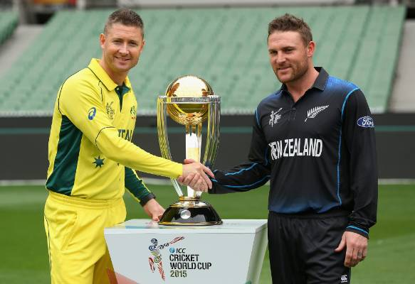 Captains Michael Clarke and Brendon McCullum pose with the World Cup trophy ahead of the 2015 ICC Cricket World Cup ...