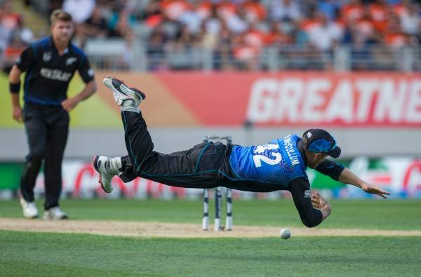 Brendon McCullum airborne while fielding during the ICC Cricket World Cup Semi Final Match played between South Africa ...