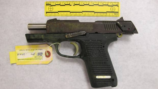 A Ruger semi-automatic handgun used by Boston Marathon bombing suspect Dzhokhar Tsarnaev.