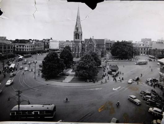 The Christ Church Cathedral rises out of the heart of the city in December 1954.