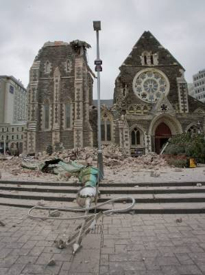 The collapsed Christ Church Cathedral Spire, 30 minutes after the earthquake.